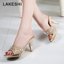LAKESHI Spike Heels Slipper Women Pumps 2018 Sexy High Heels Slippers Women Crystal Party Women Shoes Gold Open Toe Ladies Shoes