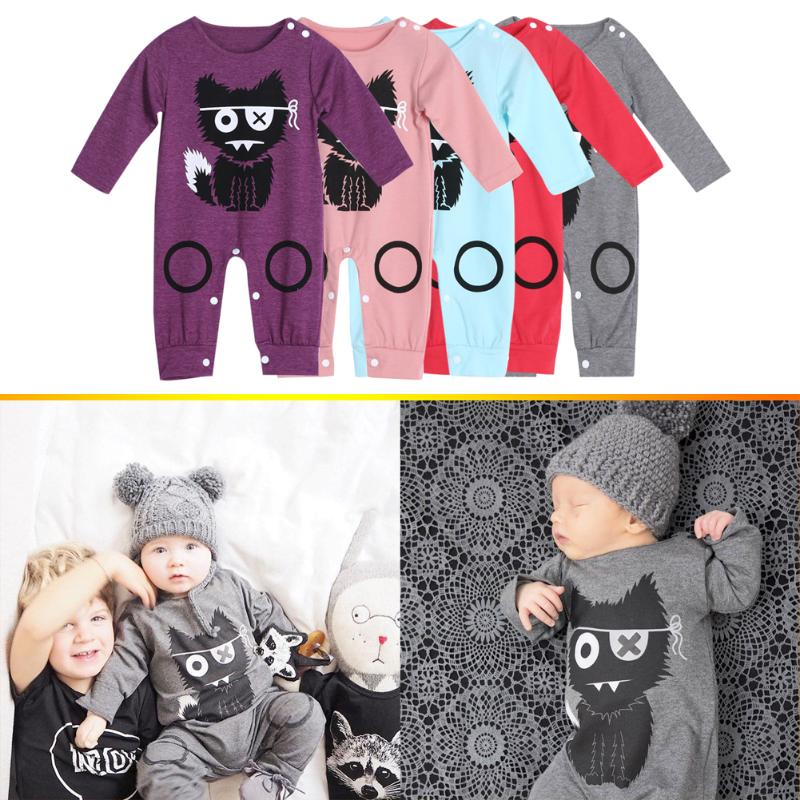 Long Sleeve Baby Romper Fashion Newborn Boys Girls Cotton Warm Cartoon Print One Piece Romper Jumpsuit Infant Clothing for 0-24M puseky 2017 infant romper baby boys girls jumpsuit newborn bebe clothing hooded toddler baby clothes cute panda romper costumes