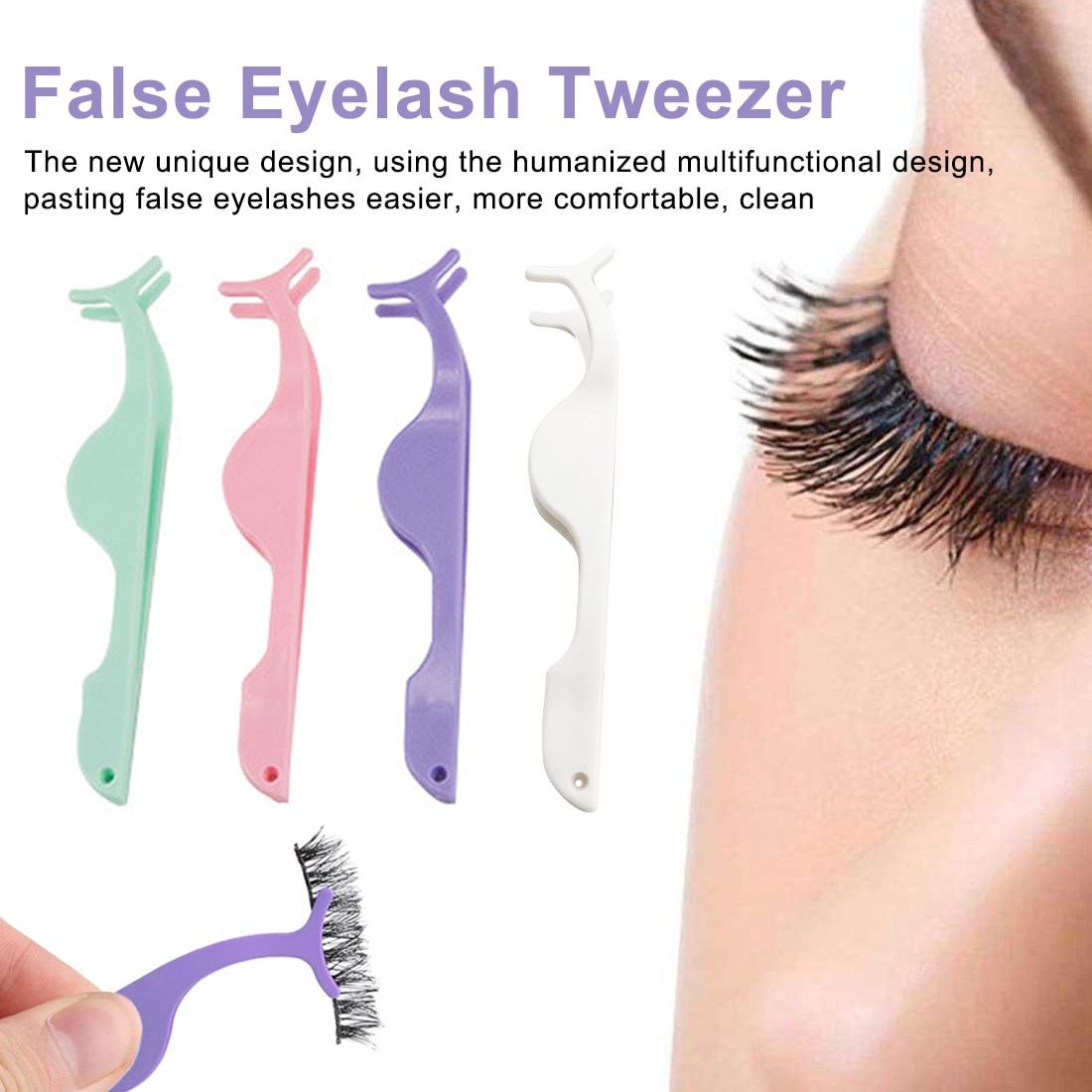 White 1 Pcs Clamp Makeup Forceps Tools Tweezers Fake Eye Lash Applicator Eyelash Extension Curler Nipper Auxiliary Clip