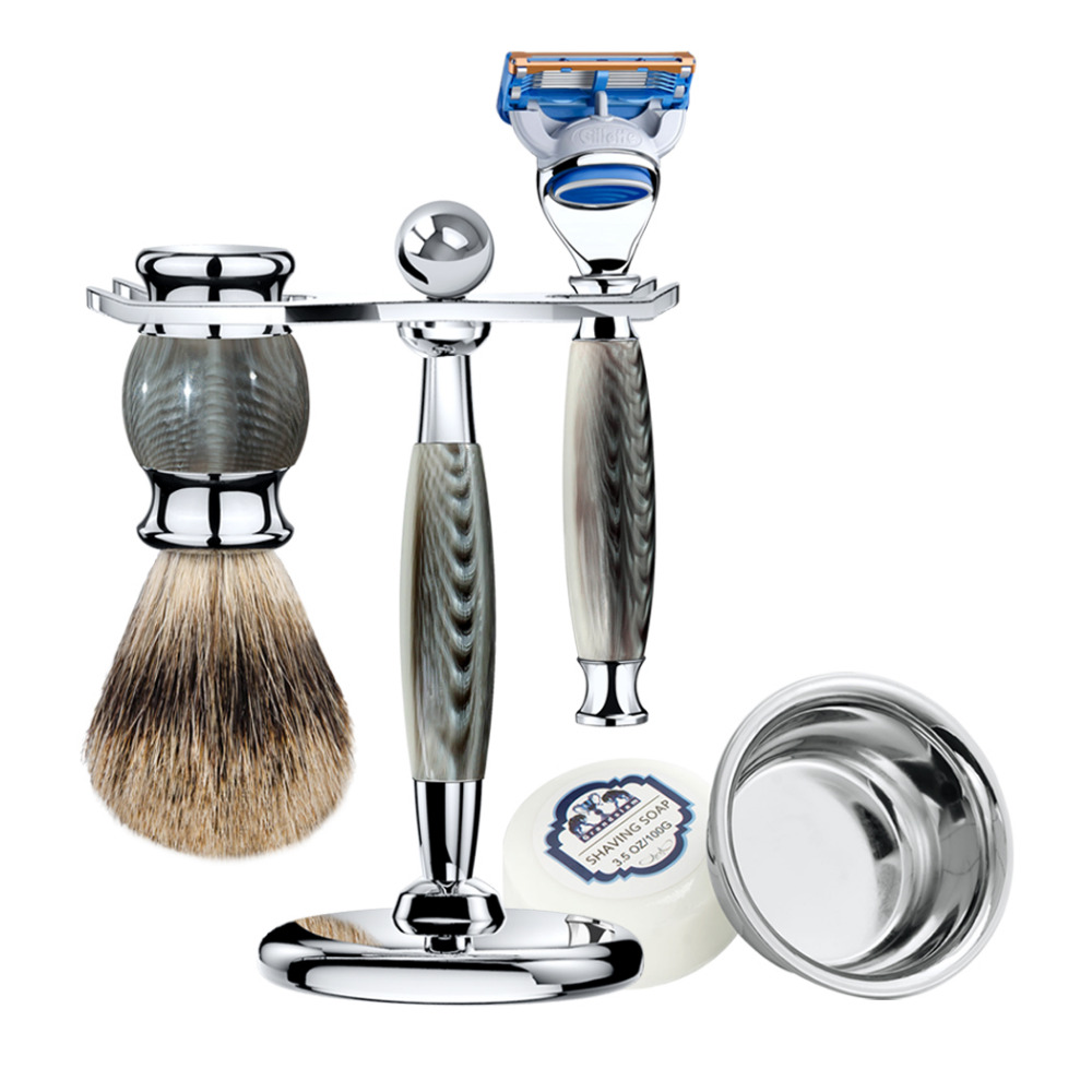 ZY 5pcs Man Shaving Razor Kit 5 Blade Cartridge Shaver+Badger Shaving Brush +Razors Stand+Shave Bowl Mug Soap Luxury Gift zy 5pcs man safety razor double edge shaving kit long handle natural badger shaving brush stand holder shave soap bowl gift