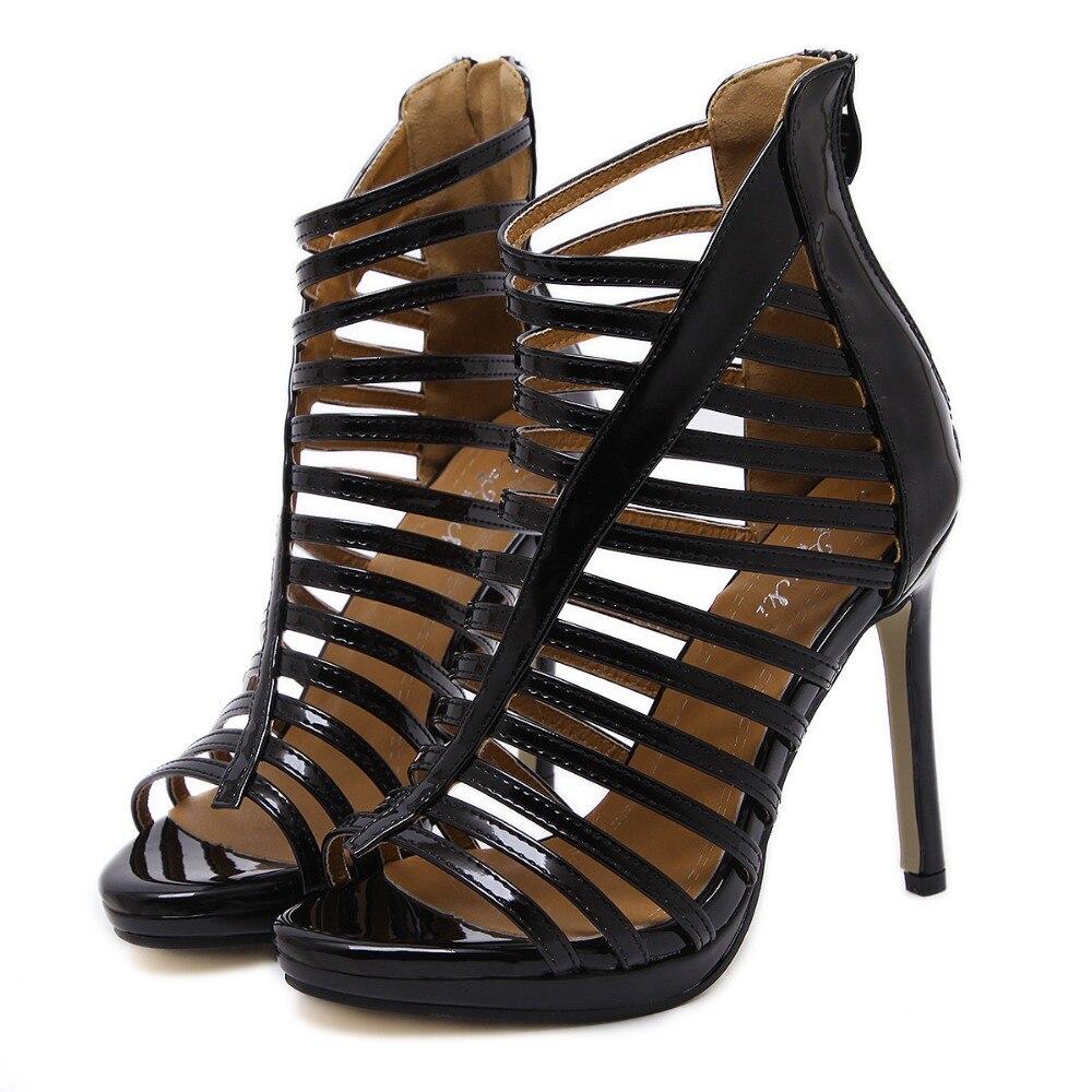 forme Stiletto Plate Hauts Black Out Sexy Bout Cut Cheville Bottes Gladiateur Romain Talons À Vinyle Chaussures Lacets gold D'été Sandale Partie Ouvert Femmes Pvc Oyv8Nnwm0