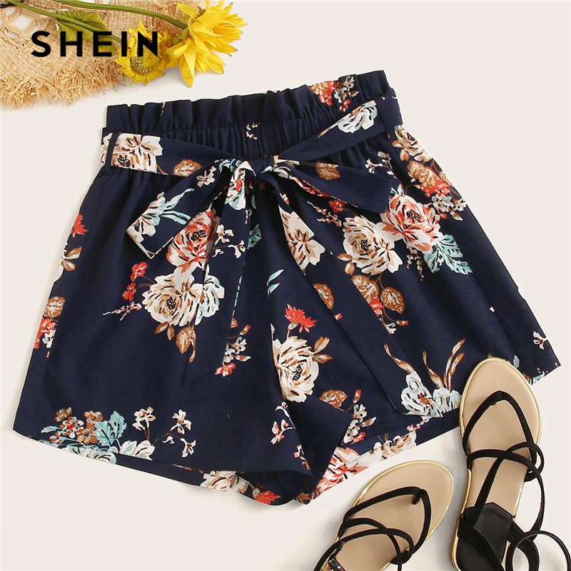 SHEIN Paperbag Waist Floral Print Belted Shorts 2019 Navy Boho High Waist Elastic Waist Women Wide Leg Loose Summer Shorts