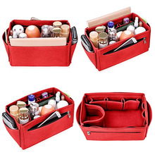 цена Popular Womens Makeup Organizer Felt Cloth Insert Bag Multifunctional Women Cosmetic Bag Makeup Bag for Ladies Travel Organizer в интернет-магазинах