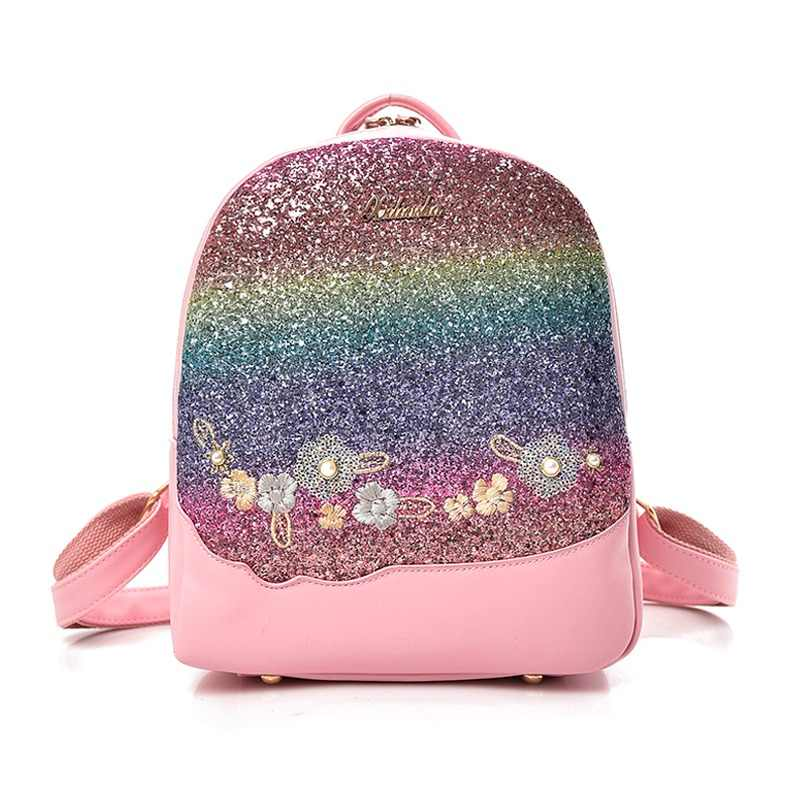 543edd51db Bling Glitter Shining Color Sequins Backpack Women Backpack Floral  Embroidery Pu Leather Backpacks Girls Small Travel