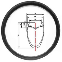 disk road wheel carbone rim 440g road disc rims tubeless tape rim wheel 28 tape tubeless road bike rims 700C 44x28mm clincher