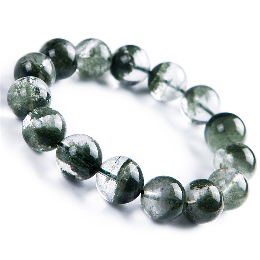 Véritable Quartz fantôme vert naturel AAAAA Bracelets de perles rondes femmes hommes extensible Bracelet de Quartz fantôme naturel 15mm