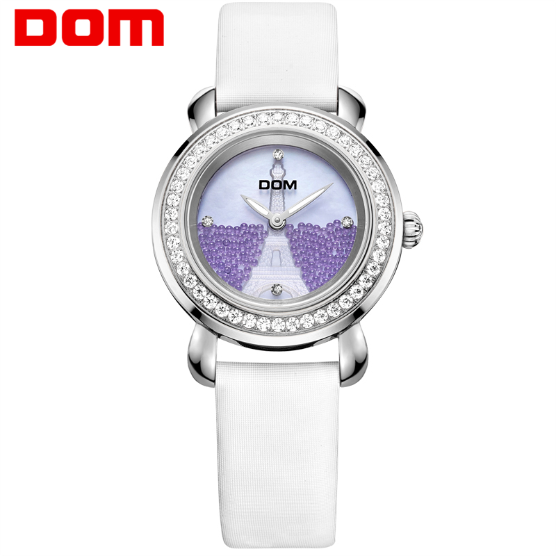 DOM women watches luxury brand waterproof style quartz leather watch sapphire crystal reloj hombre marca de lujo G-613L-7M