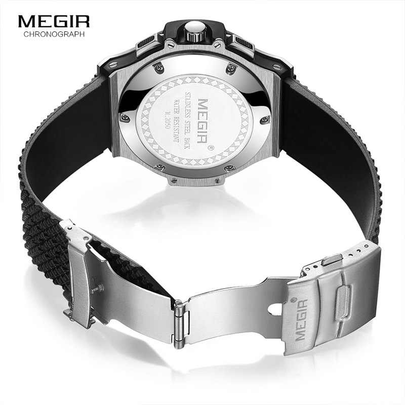 80c6bf69a ... Megir Men's Chronograph 24-hour Display Quartz Watches Silicone Band  Waterproof Sports Analogue Wristwatch for