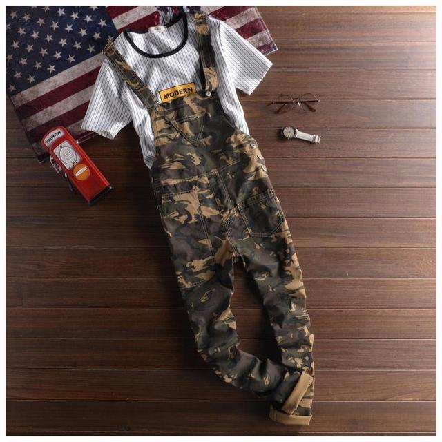 dbbfb5b5206f Mens Camo Bib Overalls Pants Fashion Slim Skinny Ripped Denim Overalls  Jeans Man Casual Blue Denim Jumpsuits Jeans For Men
