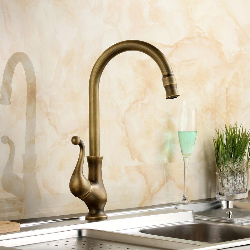 Antique Bathroom Faucet Brass Gold Faucet 360 Swivel Kitchen Faucet Bathroom Basin Sink Mixer Tap kitchen faucets 360 swivel antique brass porcelain mixer tap bathroom basin antique faucet