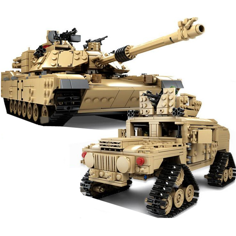 KAZI 10000 Century Military M1 A2 Tank Cannon Deformation Car DIY Tank Building Blocks toys for