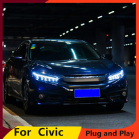 Car Styling For Honda Civic 2015 2018 Headlights for civic DRL lens New Civic LED headlights with dynamic turn signal