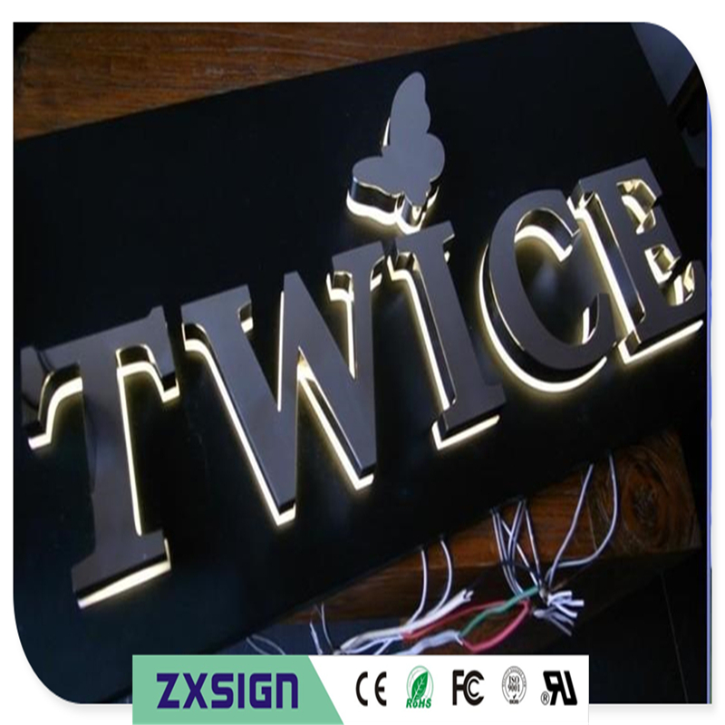 Exterior Led Halo Lit Fabricated Backlit Stainless Steel Letters, Custom Metal Illuminated Led Letterings