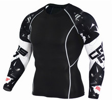 Exercise & Fitness Men Long Sleeve Compression Shirts CrossFit Athletes Runners muscle Shirt
