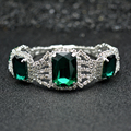 Fashion Crystal Rhinestones Silver Plated Jewelry For Women Wedding Big Square Green Stones Chain & Link Bracelets