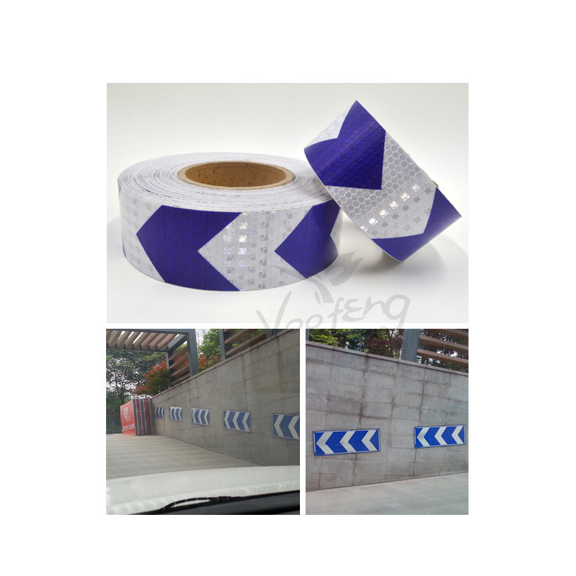 5cmx5m Shining Reflective Warning Self-Adhesive Stikcer With Blue White Color Arrow Printing For Car&Motorcycle