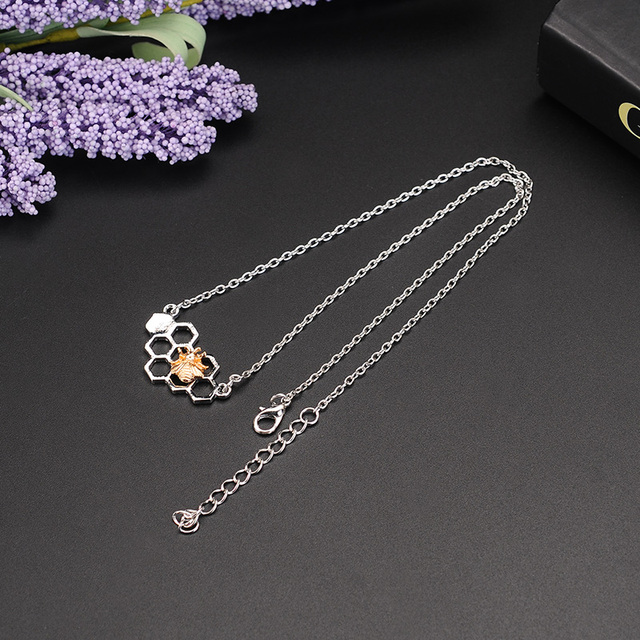 X&P Charm Fashion Silver Necklaces for Women Girl Heart Honeycomb Bee Animal Pendant Choker Necklace Jewelry Party Prom Gift 2