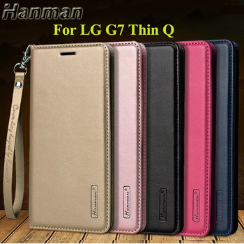 10pcs Hanman for LG G7 ThinQ Business Hang Rope Series Genuine Wallet Card Slot Filp Leather Case Cover