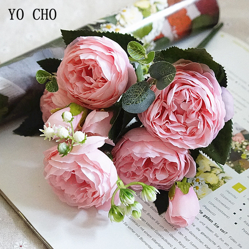 YO CHO Bridal Rose Wedding Bouquet Bridesmaid Peony Bouquet Artificial Silk Flower Arrangement Home Party Decor Wedding Supplies