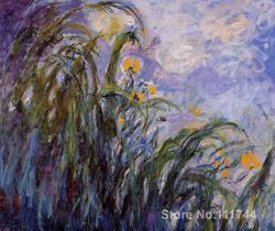 Na płótnie art żółty irysy Claude Monet reprodukcji na płótnie Handmade wysokiej jakości w Malarstwo i kaligrafia od Dom i ogród na