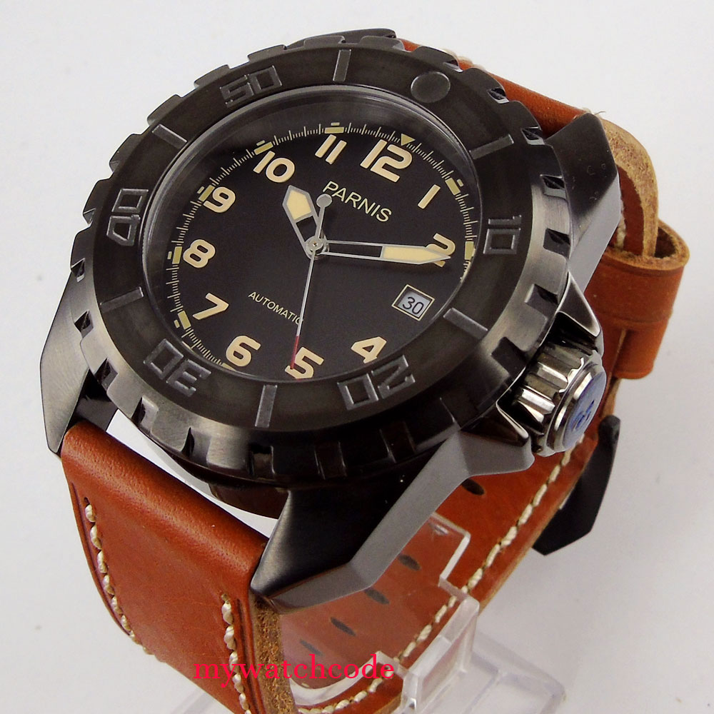 45mm parnis black dial yellow marks PVD case brown leather strap 21 jewels miyota movement automatic movement watch