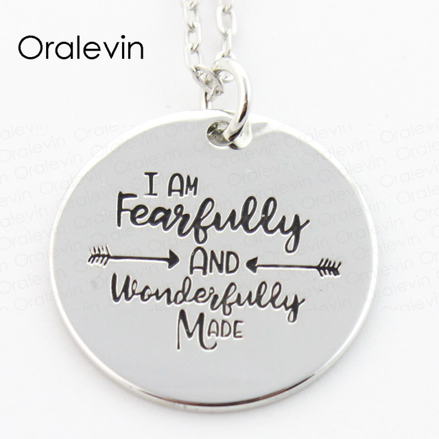 I am fearfully and wonderfully made engraved inspirational pendant i am fearfully and wonderfully made engraved inspirational pendant charms necklace gift jewelry 10pcslot aloadofball Images