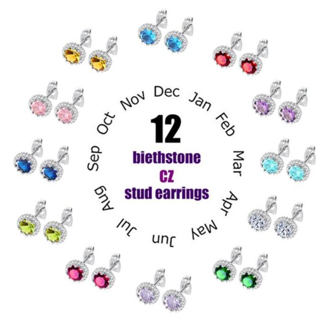 6ba427b1d Classic Birthstone Stud Earring For Women Dazzle AAA+ Cubic Zirconia 12  Months Fashion Birth Day Jewelry Girl's Gift DE600
