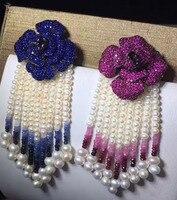 Подлинная ювелирные изделия натуральным пресноводный жемчуг кисточки брошь, заколки 925 Серебряный цветок с рубин или изумруд изысканные же