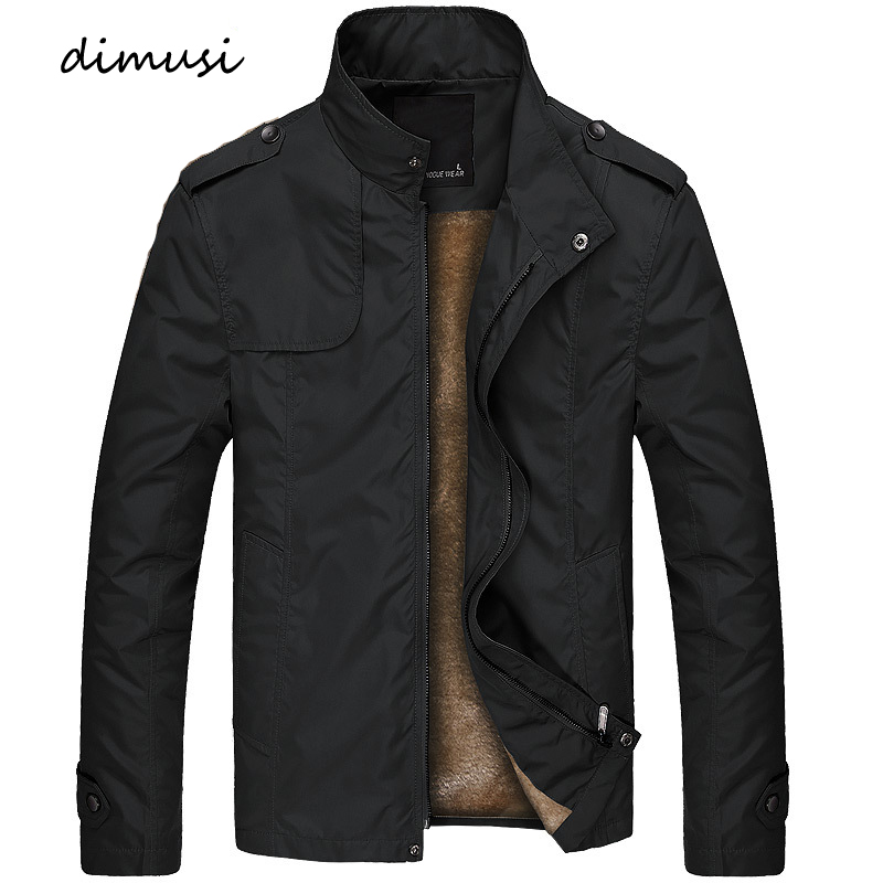 DIMUSI Winter Mens Bomber Jacket Male Casual Solid Slim Fit Business Jacket Men Fleece Thick Warm Windbreaker Jackets 4XL,TA249