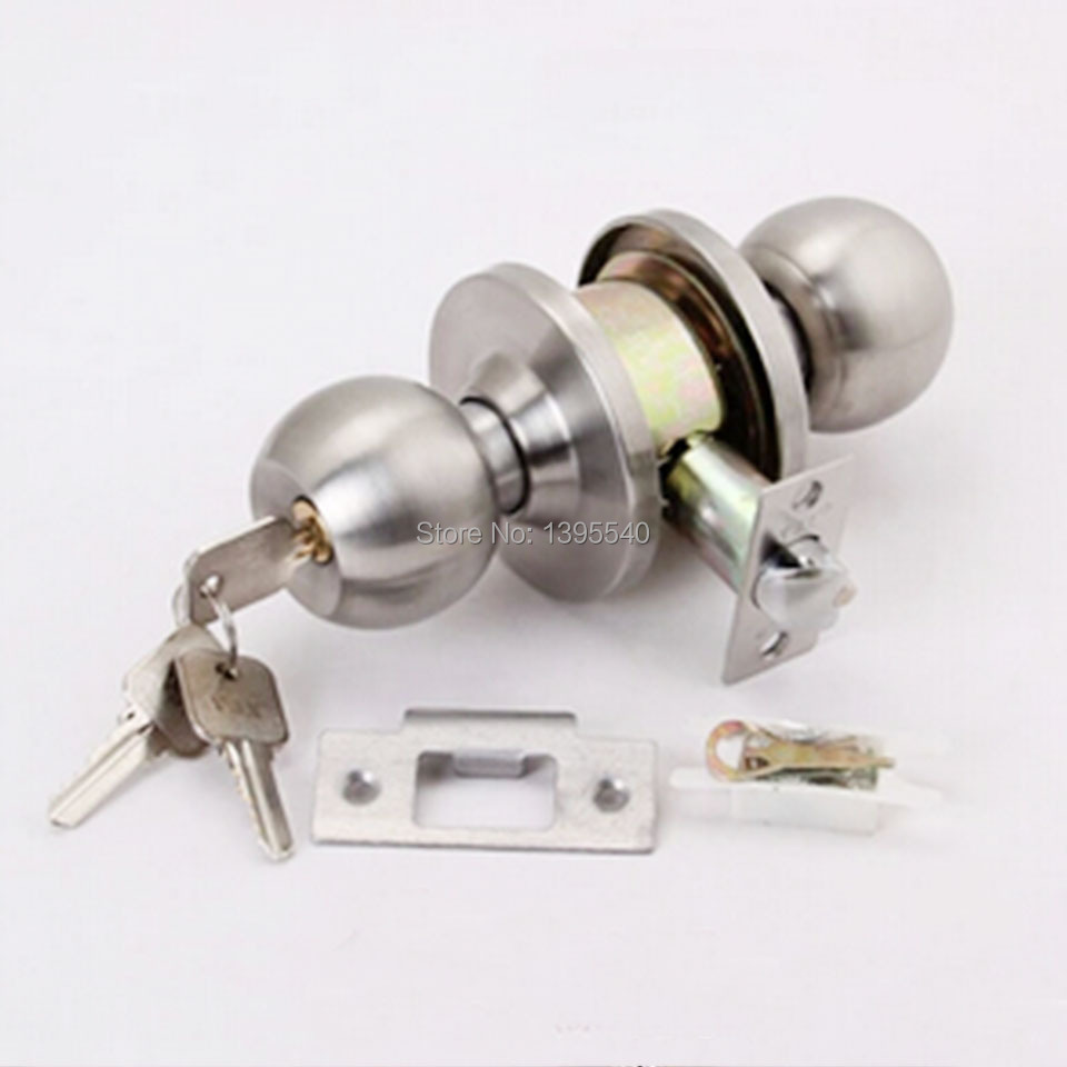 New Indoor Door Lock Cylindrical Ball Lock With Key Bedroom Door Porter Lock Stainless Steel Round Washroom Door Lock-in Locks from Home Improvement on ... & New Indoor Door Lock Cylindrical Ball Lock With Key Bedroom Door ...