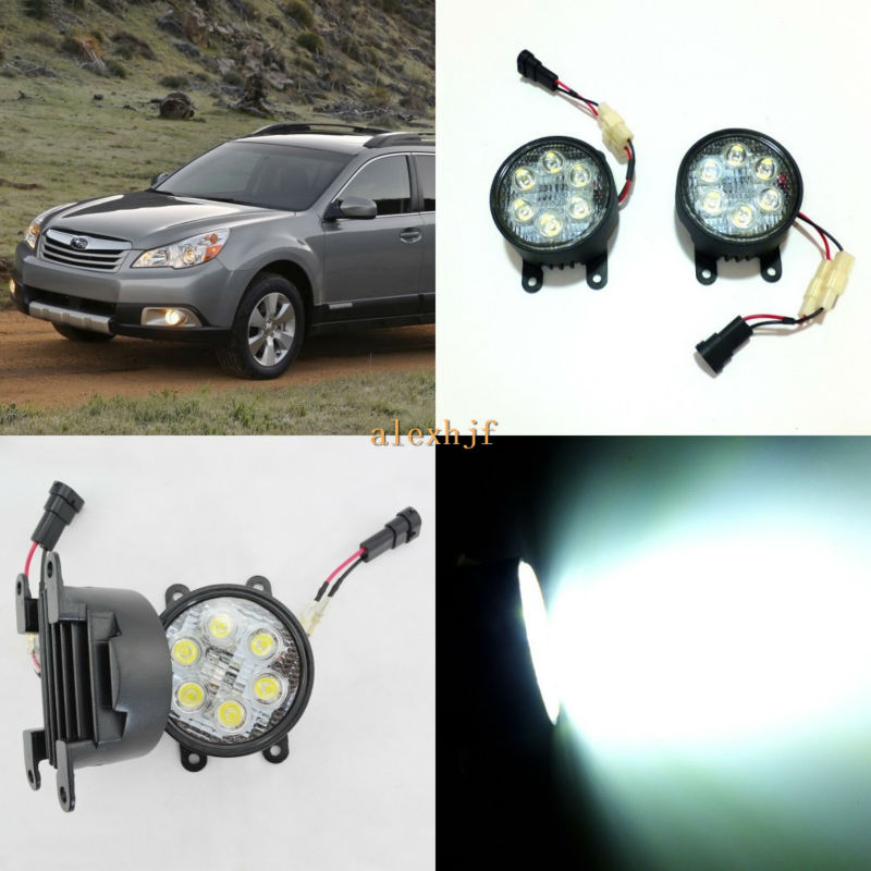 ФОТО July King 18W 6LEDs H11 LED Fog Lamp Assembly Case for Subaru Outback 2010~2012 etc, 6500K 1260LM Daytime Running Lights