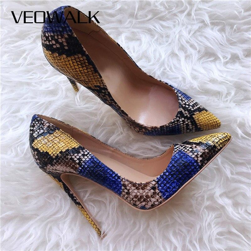 Veowalk Sexy Embossed Snake Pattern Women Pointed Toe High Heels Ladies Slip On Stiletto Pumps Fashion Woman Night Club Shoes
