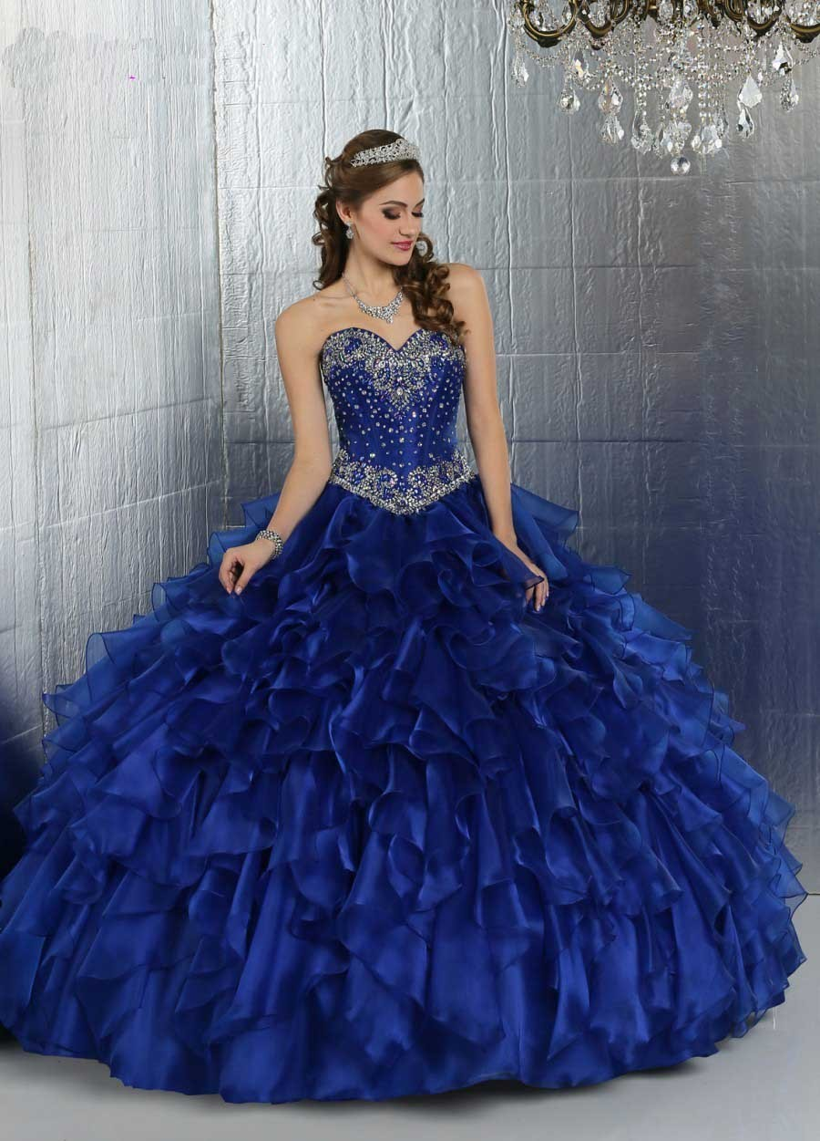 18fcde940 Puffy Royal Blue Quinceanera Dresses Sweetheart Diamond Beaded Organza Dark  Blue Quinceaneras Decorations Vestidos De 15 Anos
