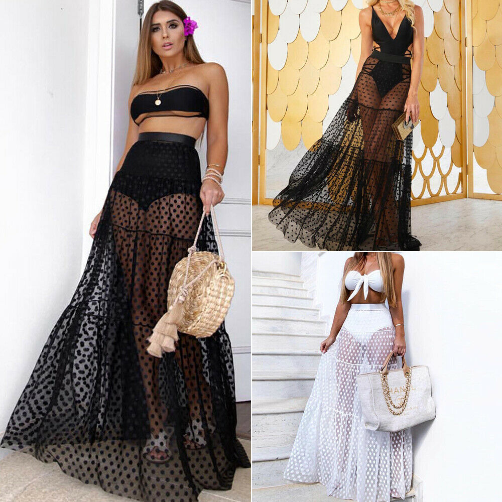 Women Boho Maxi High Waist Sheer Skirt  Retro Polka Dot Long Skirts Club Party Summer Beach Sundres