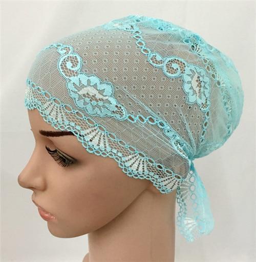 12 PCS Fashion Women Muslim Inner Cap  Lace Flower Hijab Islamic Headwear   Hat Wraps 4