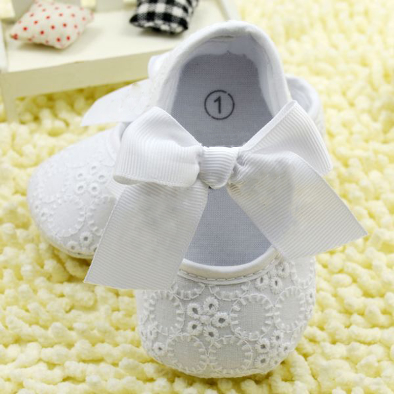 White Bowknot Baby Girl Lace Shoes Toddler Prewalker Anti-Slip First Walker Simple Baby Shoes