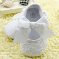 White Bowknot Baby Girl Lace Shoes Toddler Prewalker Anti-Slip Shoe Simple Baby Shoes