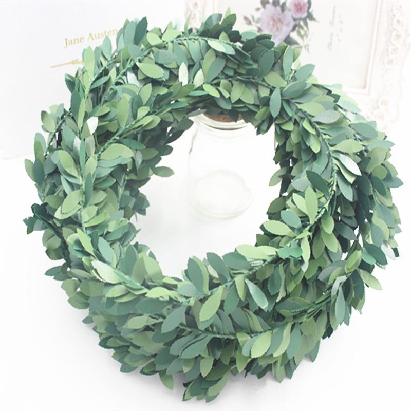 3,75 м 150 дюймов шт. шелковая гирлянда Зеленый лист железная проволока искусственная Цветочная лоза ротанга для свадебного украшения автомобиля DIY ВЕНОК цветок