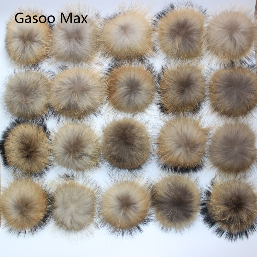 50pcs lot DIY 13 14cm Real Raccoon Fur Pompoms Fur balls for knitted beanies keychain and