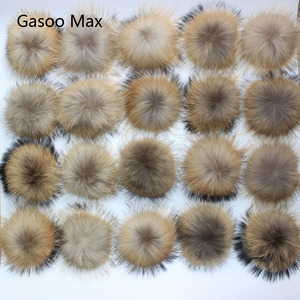 Image 1 - 50pcs/ lot DIY 13 14cm Real Raccoon Fur Pompoms Fur balls for knitted beanies keychain and scarves shoes Real fur pom Wholesale