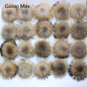 Image 1 - Boules de fourrure de raton laveur, véritable fourrure de raton laveur, pour les bonnets tricotés, porte clés et écharpes, vente en gros de 50 pièces/lot, 13 14cm