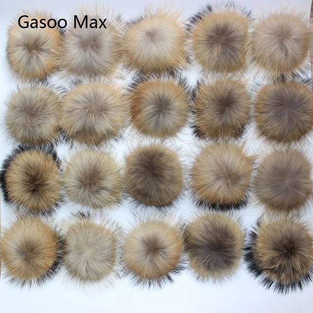 Boules de fourrure de raton laveur, véritable fourrure de raton laveur, pour les bonnets tricotés, porte clés et écharpes, vente en gros de 50 pièces/lot, 13 14cm