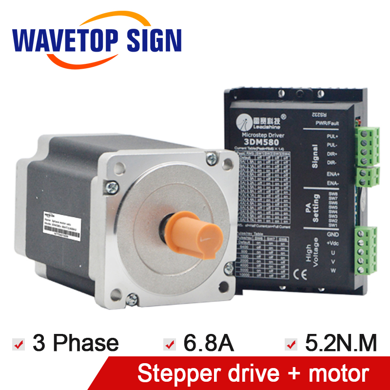 Leadshine 3Phase 3DM580+Leadshine 3Phase Stepper Drive Motor 86HT11468A3 leadshine 3phase 3dm683 leadshine 3phase stepper drive motor 573s09 l