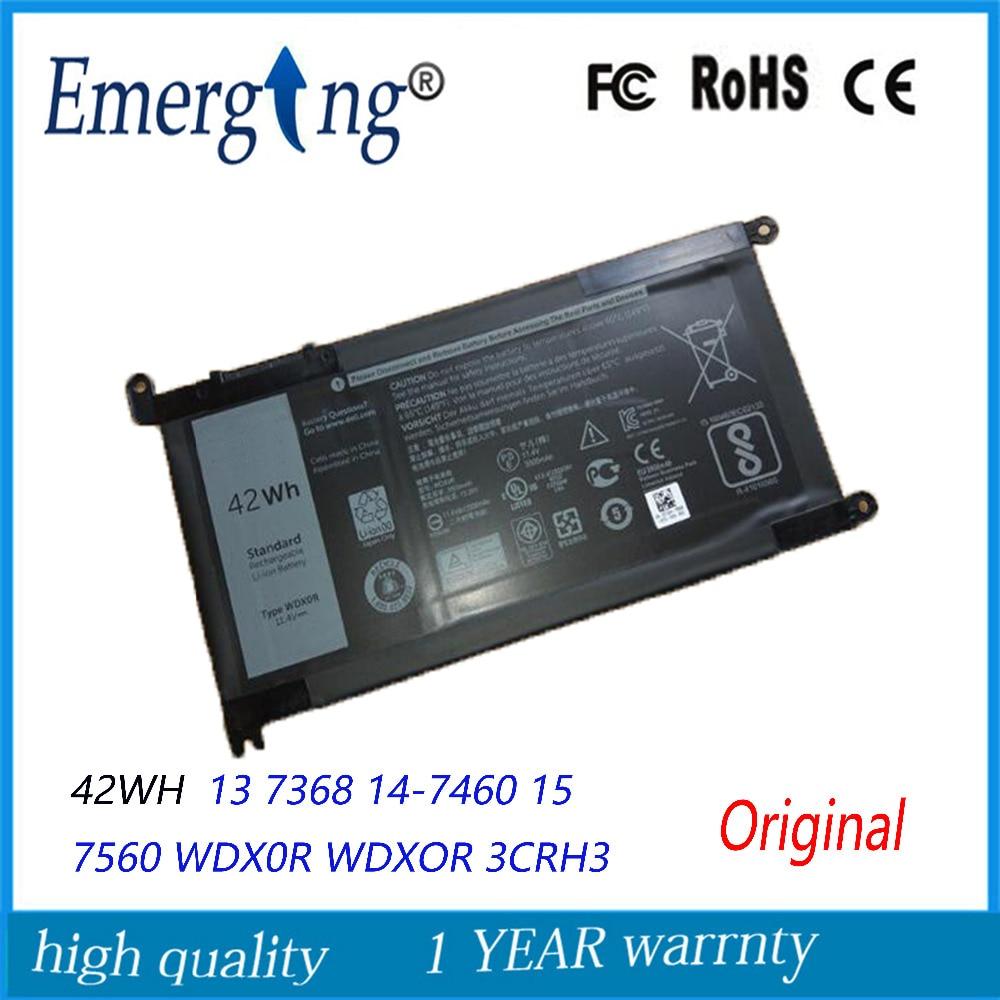 11.4V 42Wh New Original Laptop Battery For Dell 13 7368 14-7460 15 7560 WDX0R WDXOR 3CRH3 T2JX4