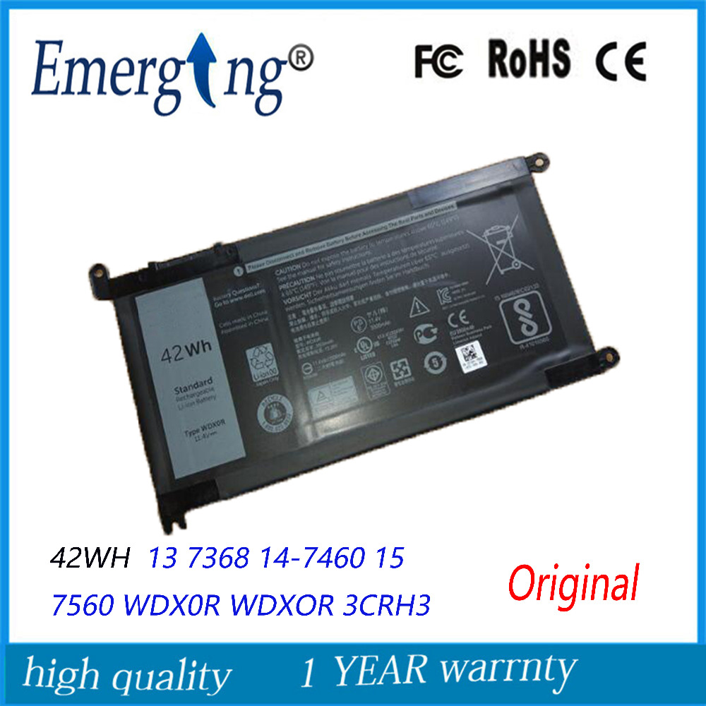 11.4V 42Wh New Original Laptop Battery for Dell 13 7368 14-7460 15 7560 WDX0R WDXOR 3CRH3 T2JX4 kingsener wdx0r laptop battery for dell inspiron 15 5568 5567 7560 13 7368 5378 5368 14 7460 17 5767 5765 for vostro 14 5468