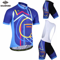 SIILENYOND Blue Short Sleeve Cycling Jersey Sets 2018 Men Summer Breathable Cycling Clothing Sport Wear MTB