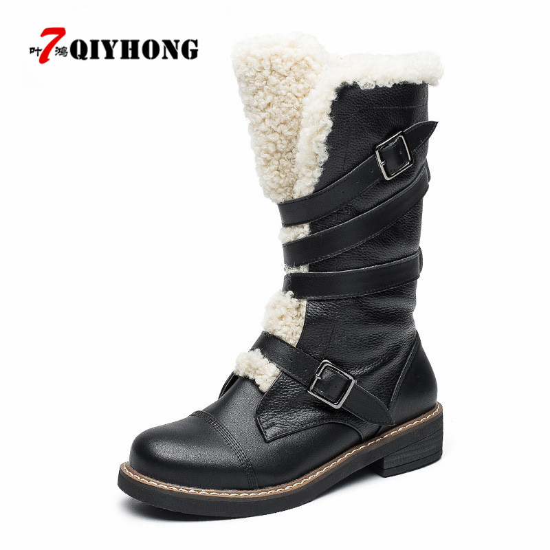 Fashion Genuine Leather Plush Snow Boots Women Mid-Calf Slip-Resistant Boots Lambswool Female Cotton-Padded Shoes Warm Winter 2017 black women boots sheepskin winter warm plush female boots mid calf genuine leather women shoes