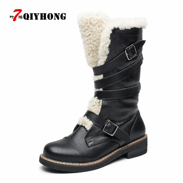 Fashion Genuine Leather Plush Snow Boots Women Mid Calf Slip