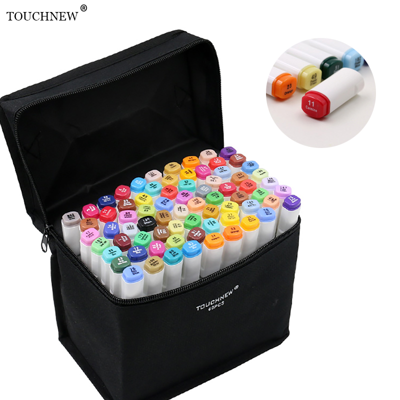 TOUCHNEW T6 Dual brush oil alcohol based 168 Color set sketch markers dibujo manga rotuladores colores pen art supplies touchnew 60 colors artist dual head sketch markers for manga marker school drawing marker pen design supplies 5type
