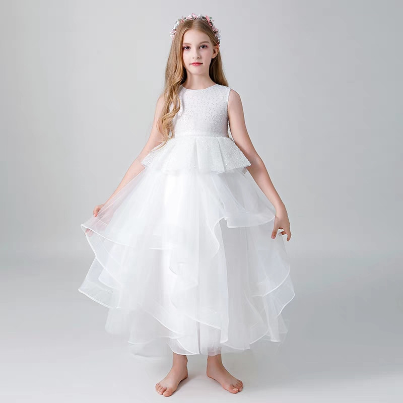 White Color Children Girls Round Collar Birthday Wedding Party Prom Mesh Dress Toddler Kids Piano Costume Host Ball Gown Dress collar color block striped dress